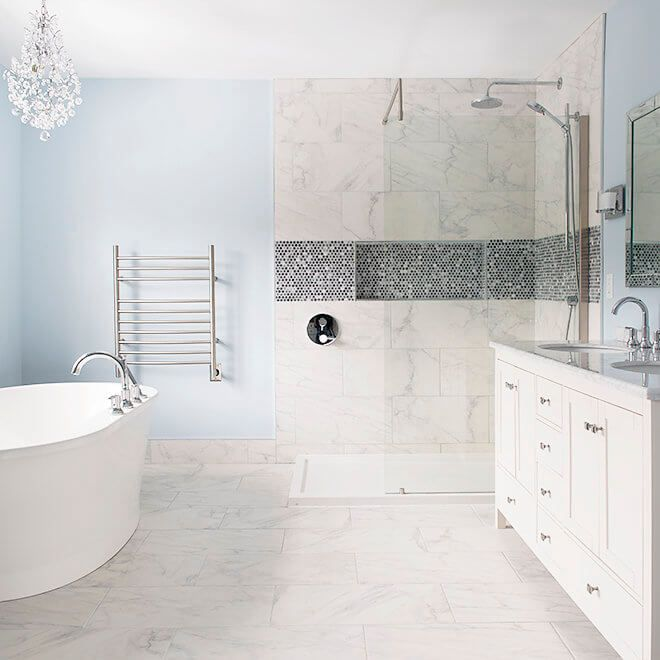 Bathroom Renovation With Marble Tile, Fireplace, Tv, Stand-alone Soaker Tub, Natural Light