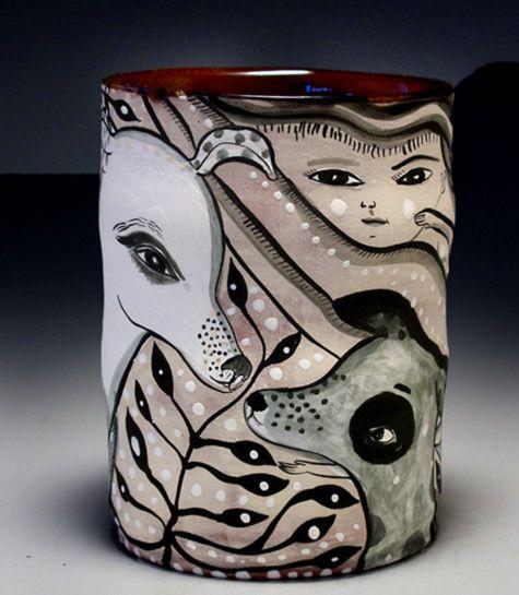 2 ceramicists with vivid illustration
