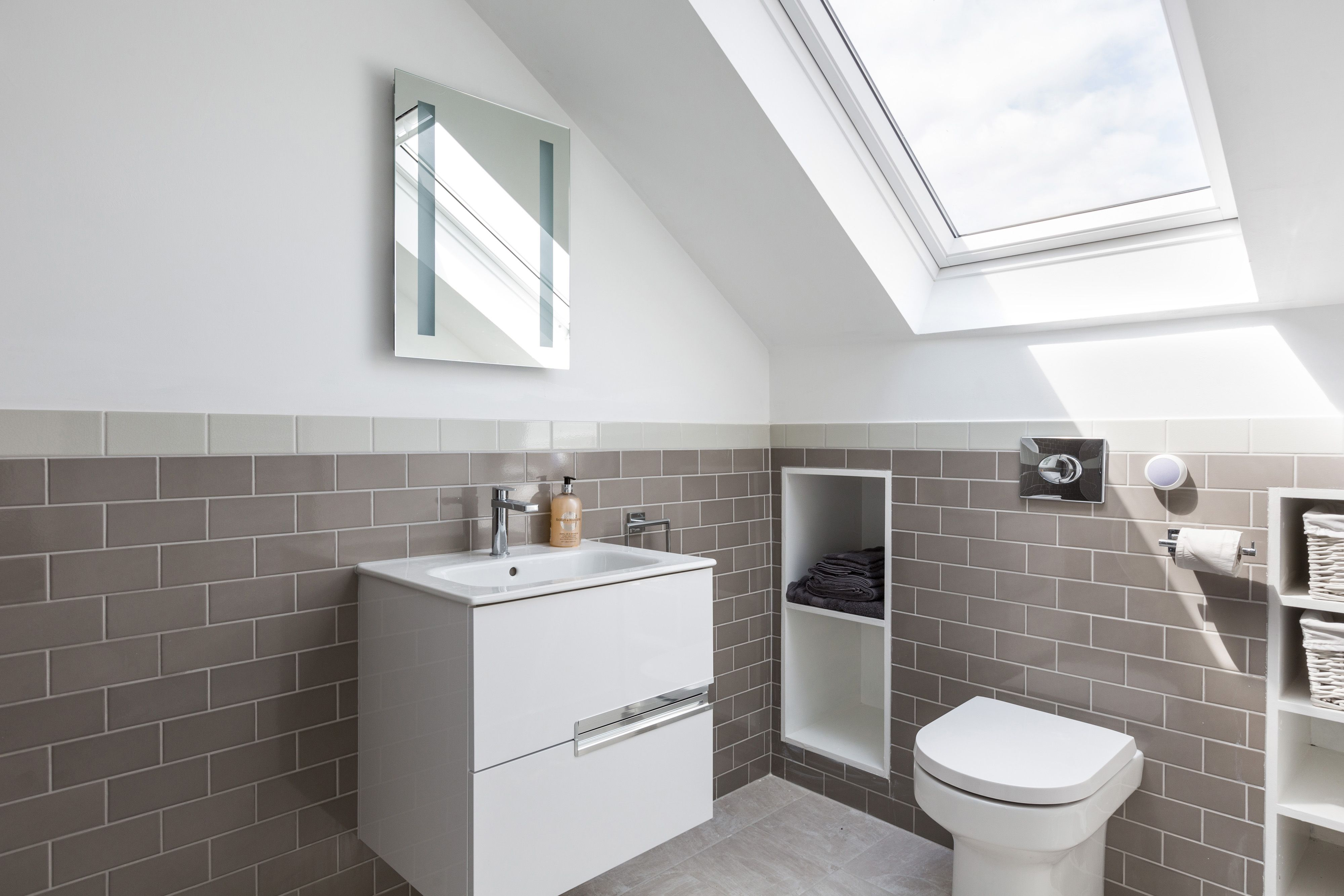 This loft bathroom in south London is both calming and masculine ...