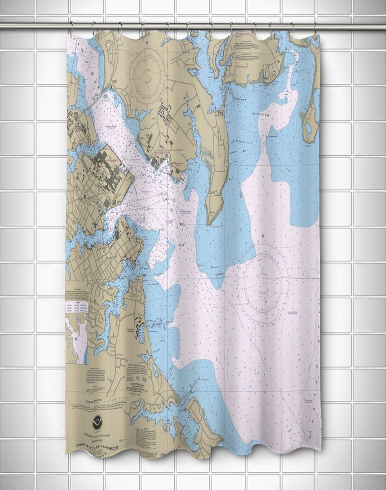 Md Annapolis Harbor Md Nautical Chart Shower Curtain Shower