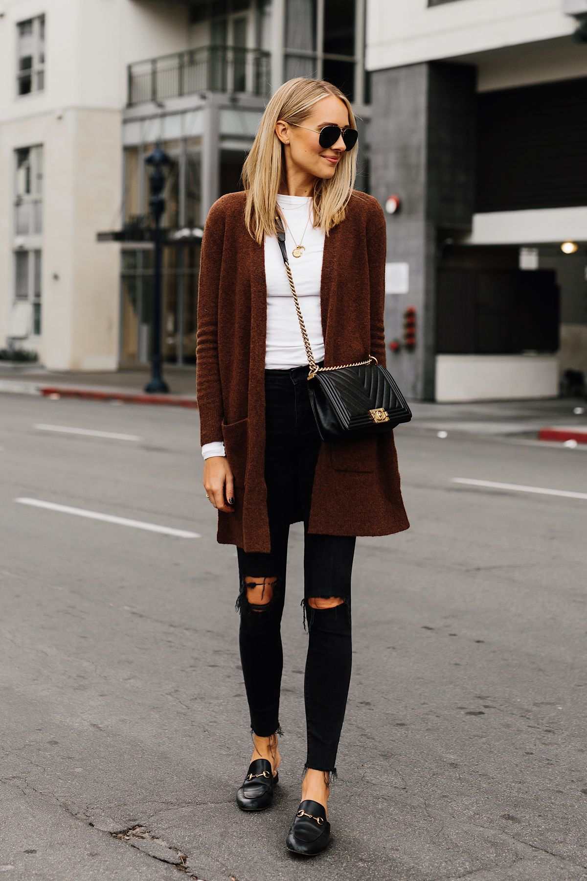 29acfaee86f Fashion Jackson Madewell Brown Long Cardigan White Top Madewell Black  Ripped Skinny Jeans Gucci Black Princetown Loafer Mules Chanel Black Boy Bag