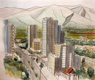 Urban Sketchers: Santiago Chile by Claudio Lagos