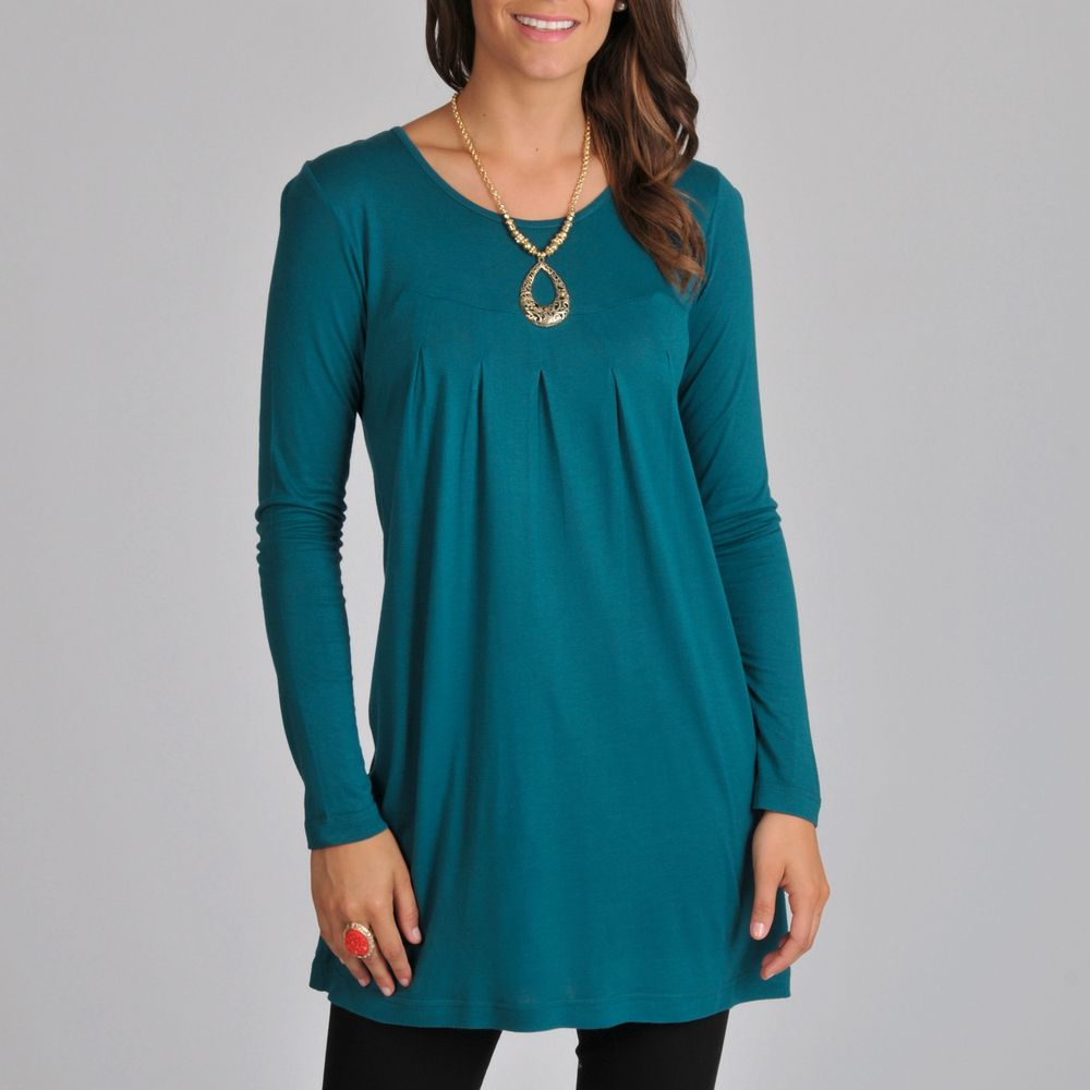 La Cera Women's Teal Long-sleeve Inverted Pleat Knit Tunic Top by ...