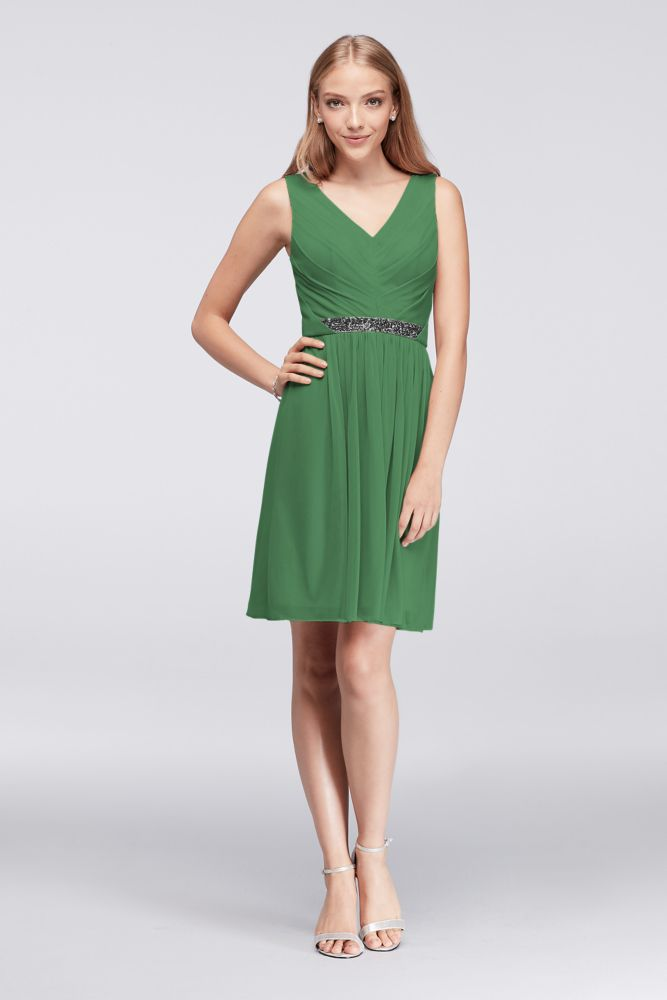Short Mesh Bridesmaid Dress with V-Neck and Beaded Waistband - Clover (Green), 6