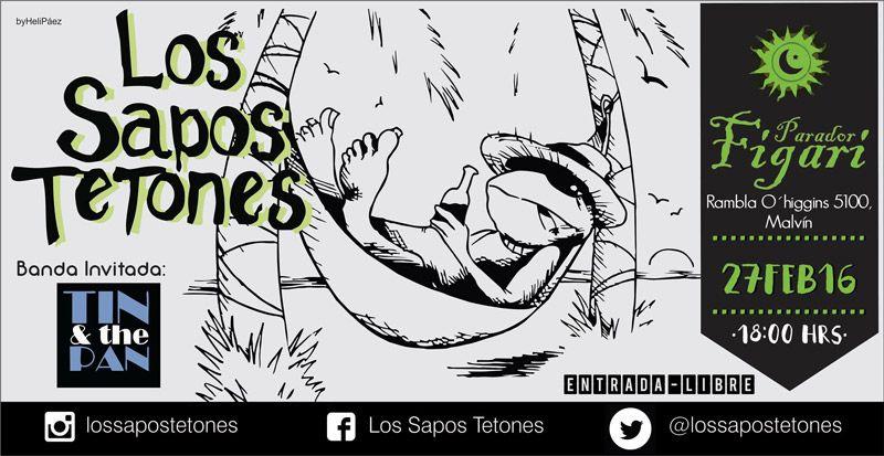 Los Sapos Tetones, una banda nacida en el barrio que crece con su gente.Se presentan en el Parador Figari con entrada libre, estan todos invitados.   Como llegar al Parador Figari?...