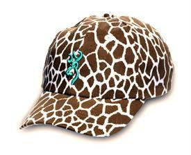 f75b0907f45 Browning Hat Ladies Safari Animal Print Cap Giraffe w Aqua Buckmark ...