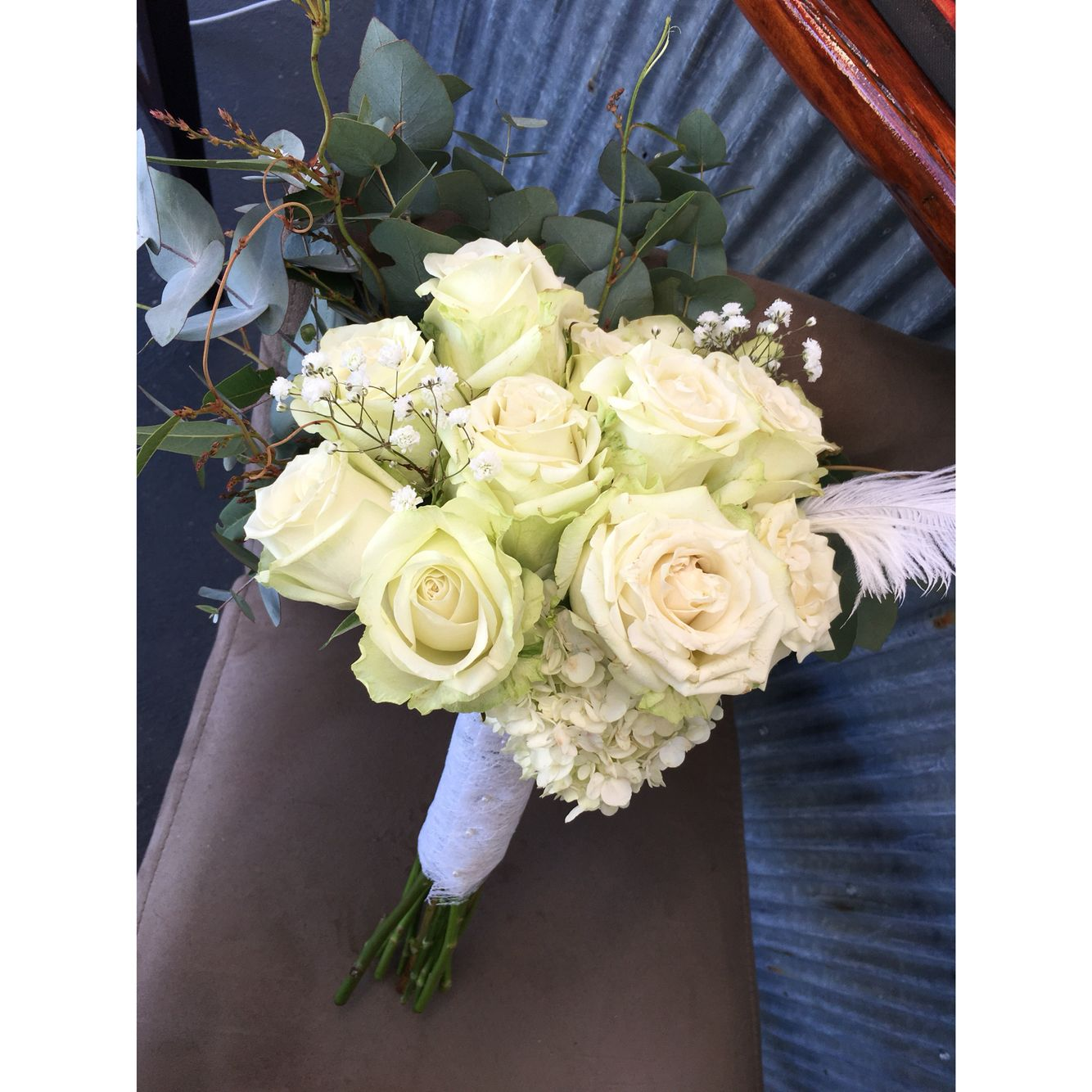 Bouquet For The Geelong Brides Wedding Expo Bridal House Fashion Show White Hydrangea White Roses Blue Gum H Wedding Expo Event Flowers Wedding Events