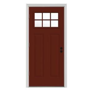 Steves Sons 36 In X 80 In 6 Lite Left Hand Outswing Primed White Steel Prehung Front Door With 4 In Wall St30 6l 30 4olh Entry Doors Steel Doors Exterior Doors