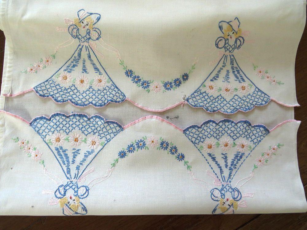 Vintage Embroidered Southern Belles Dresser Scarf Table Runner Blue Hats