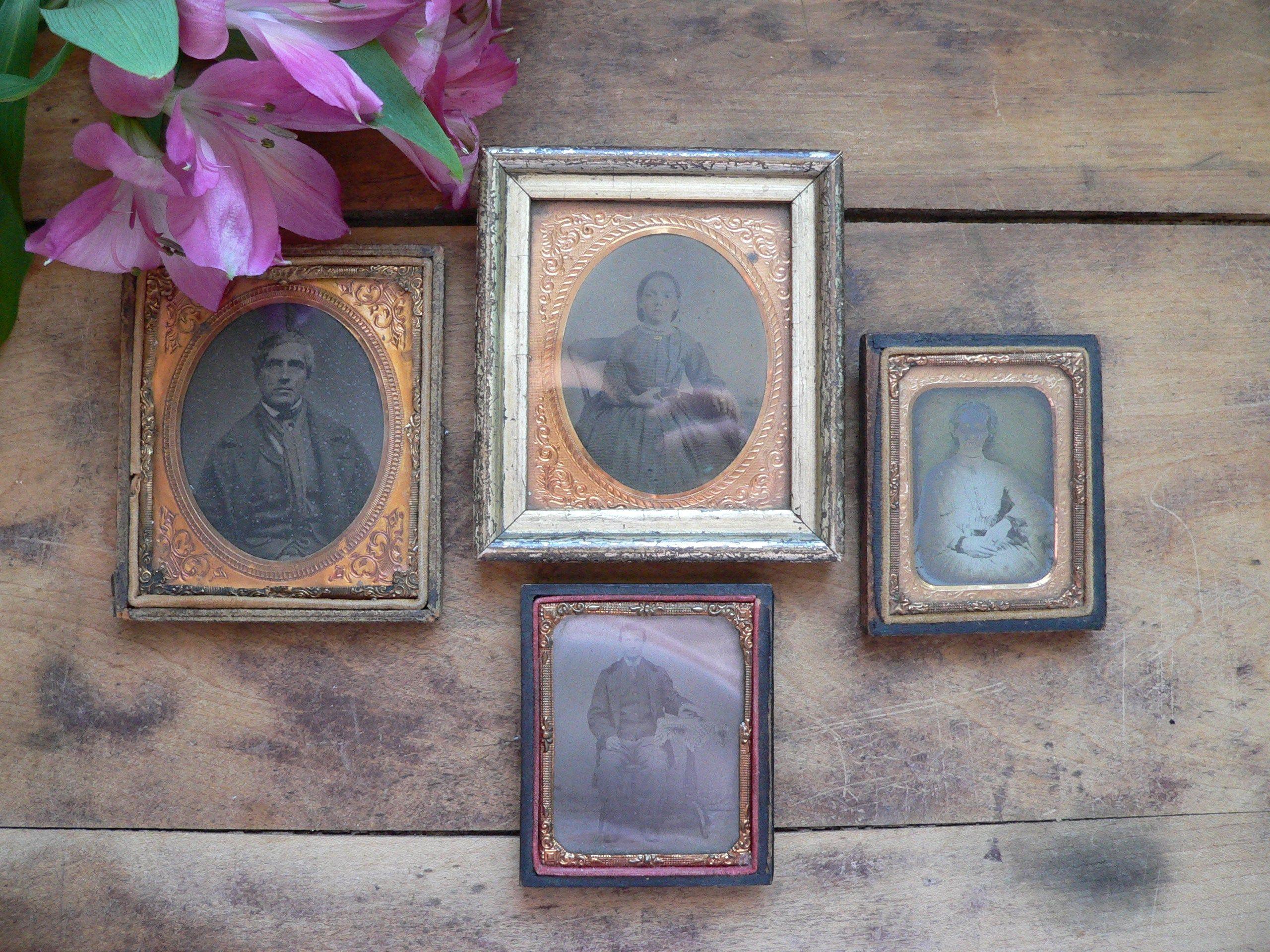 Set Of Four Small Antique Framed Photographs Antique Wall Decor Antique Miniature Framed Portrait Photographs Antique Wall Decor Retro Wall Decor Antique Frames