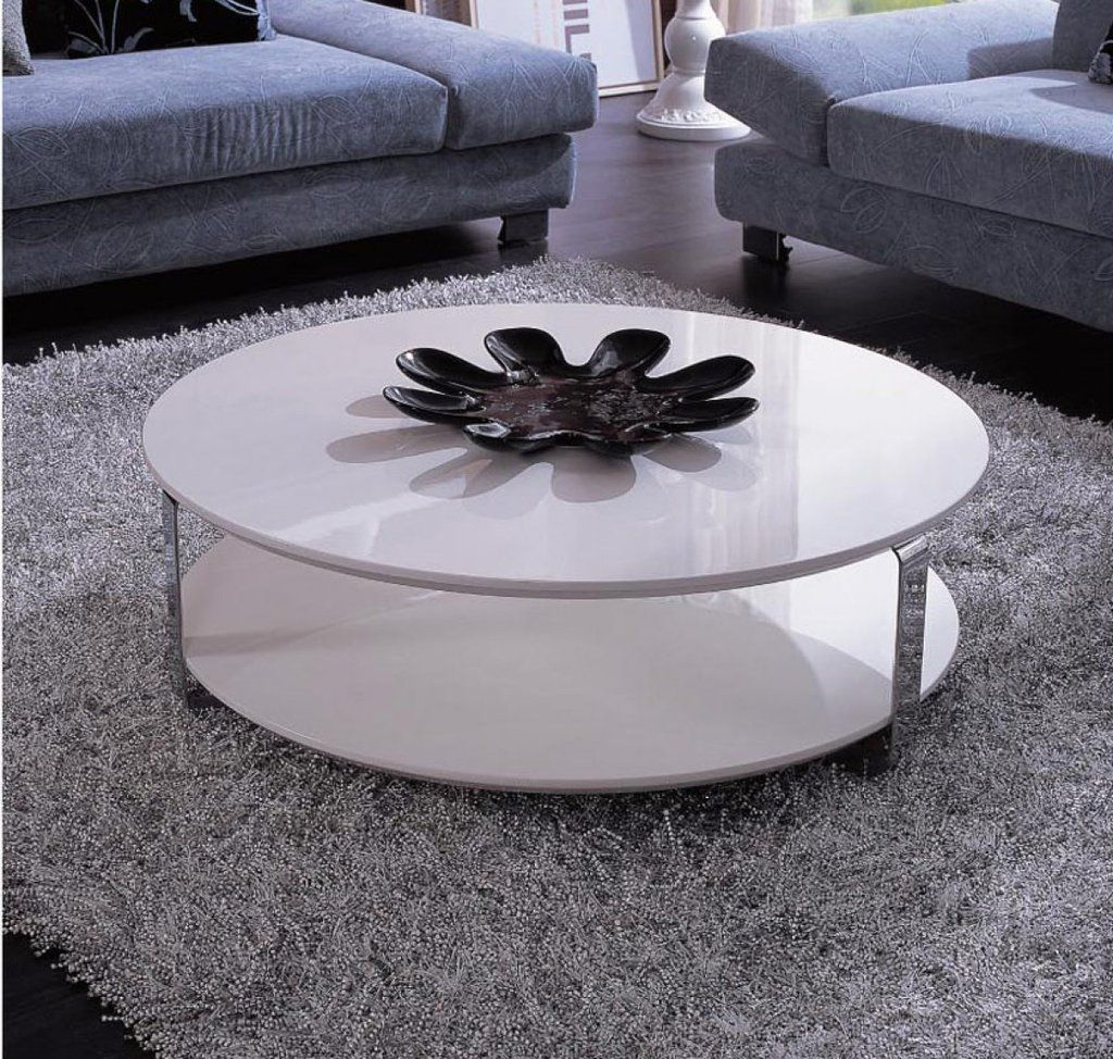 modern white round coffee table art