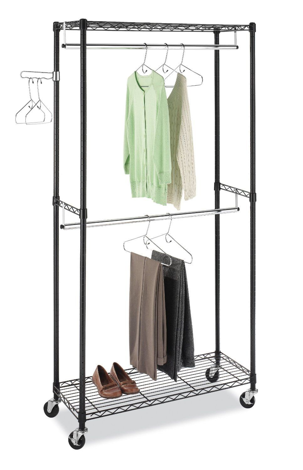 Store Extra Clothes And Accessories On This Supreme Double Rod Garment Rack  From Whitmor. With Its Heavy Duty Construction This Rack Features Black  Epoxy ...