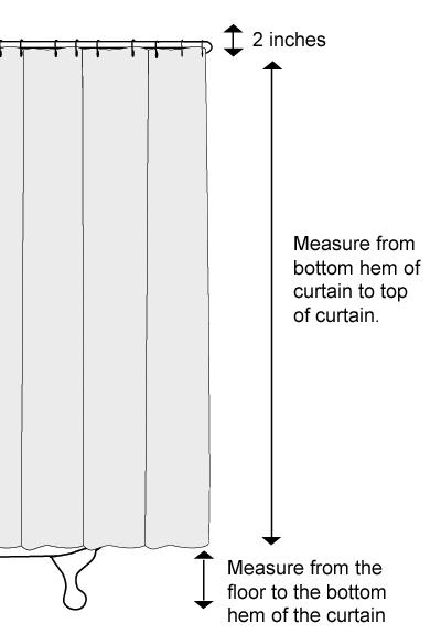 Diagram Measure Length Clawfoot Shower Curtain
