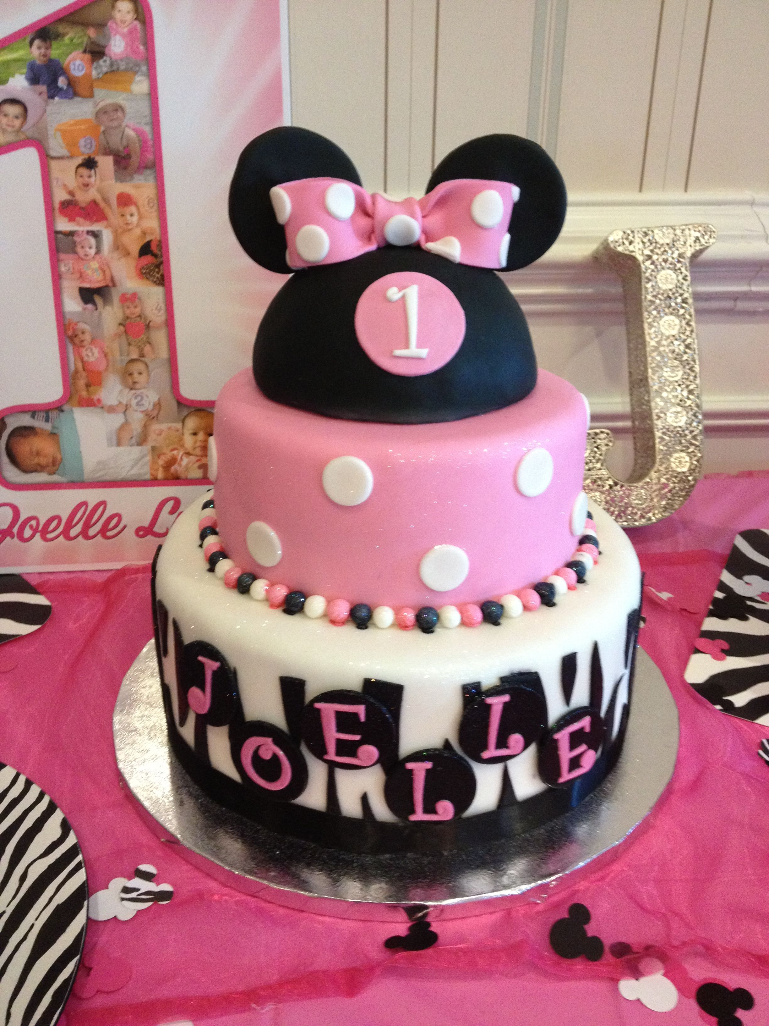 Yummy Dessert Table For My Baby Girls 1st Birthday Party Minnie Mouse Zebra Theme Desserts Pro First Birthday Cakes Baby Girl 1st Birthday 1st Birthday Girls