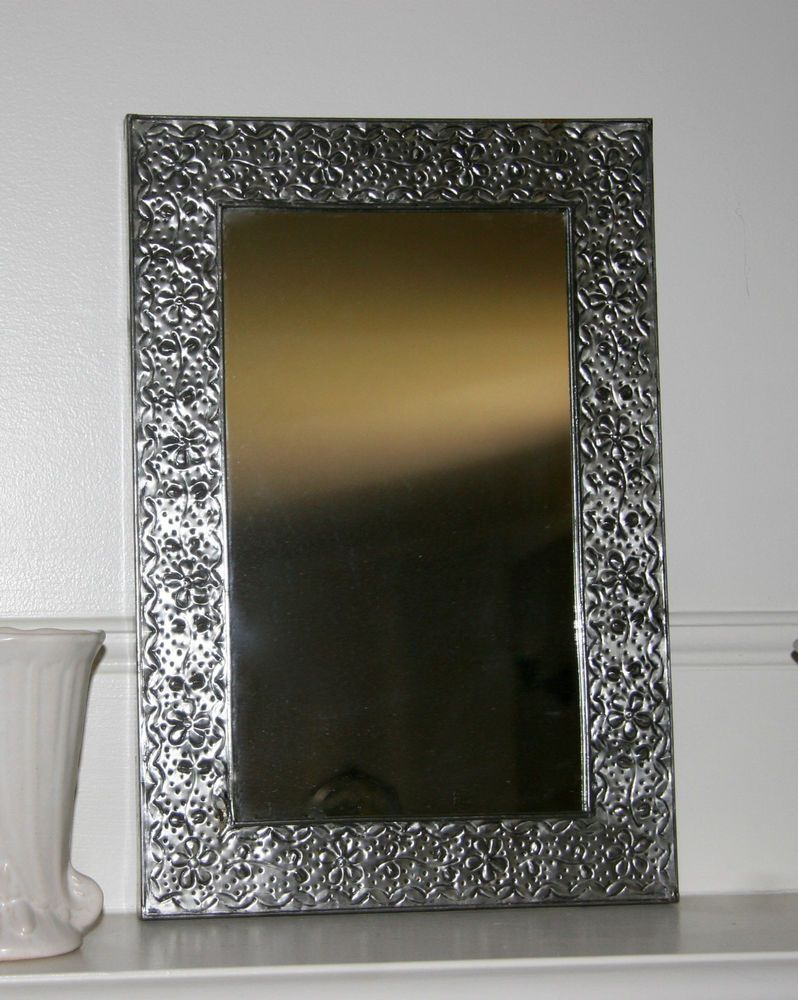 d vintage hand crafted mexican pressed silver tin botanical floral mirror frame - Mexican Frame