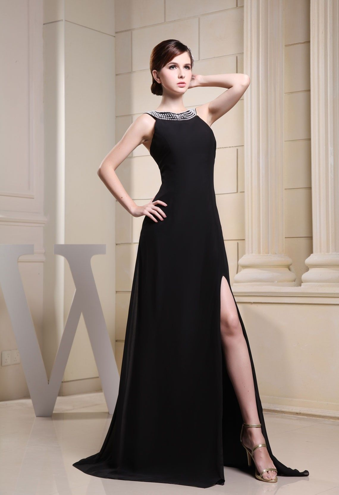 Brush train black beaded split aline jewel evening dress bjy