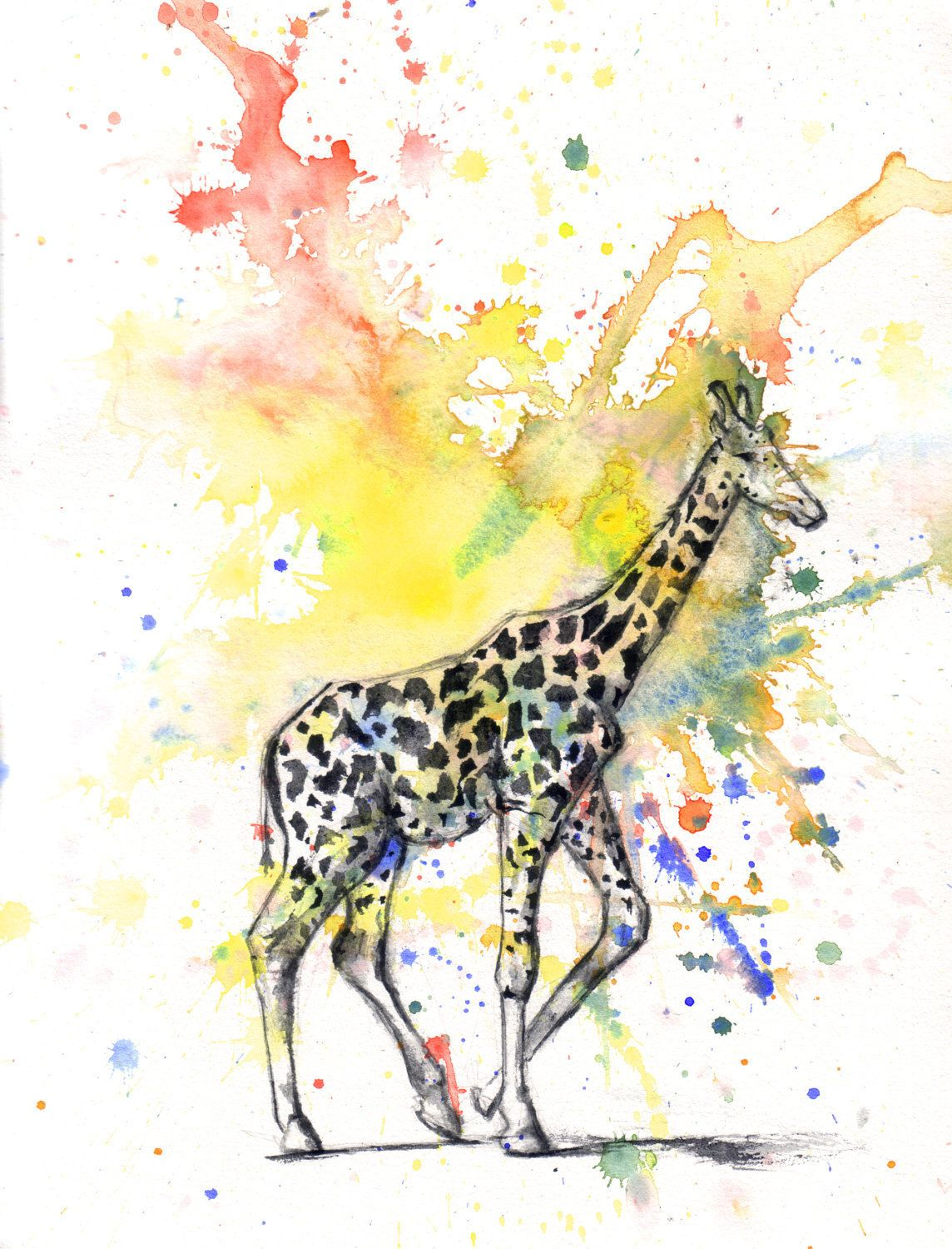 Giraffe Art Animal Watercolor Painting Print - 5 X 7 in print Great ...