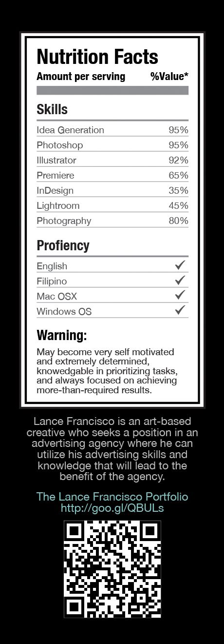 Creative Juice Resume by Lance Francisco, via Behance Resumes - my first job resume
