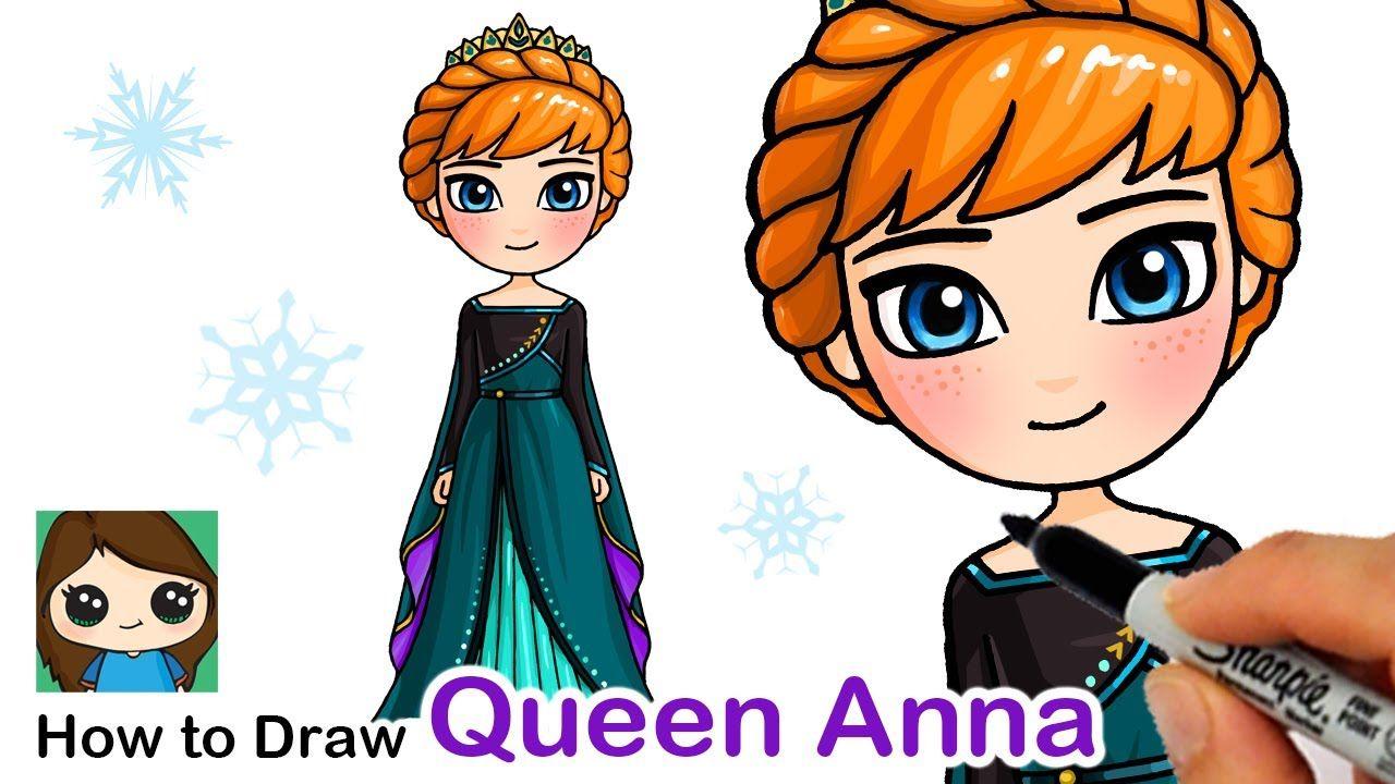 How To Draw Queen Anna Disney Frozen 2 In 2020 Cute Disney Drawings Kawaii Girl Drawings Disney Princess Drawings