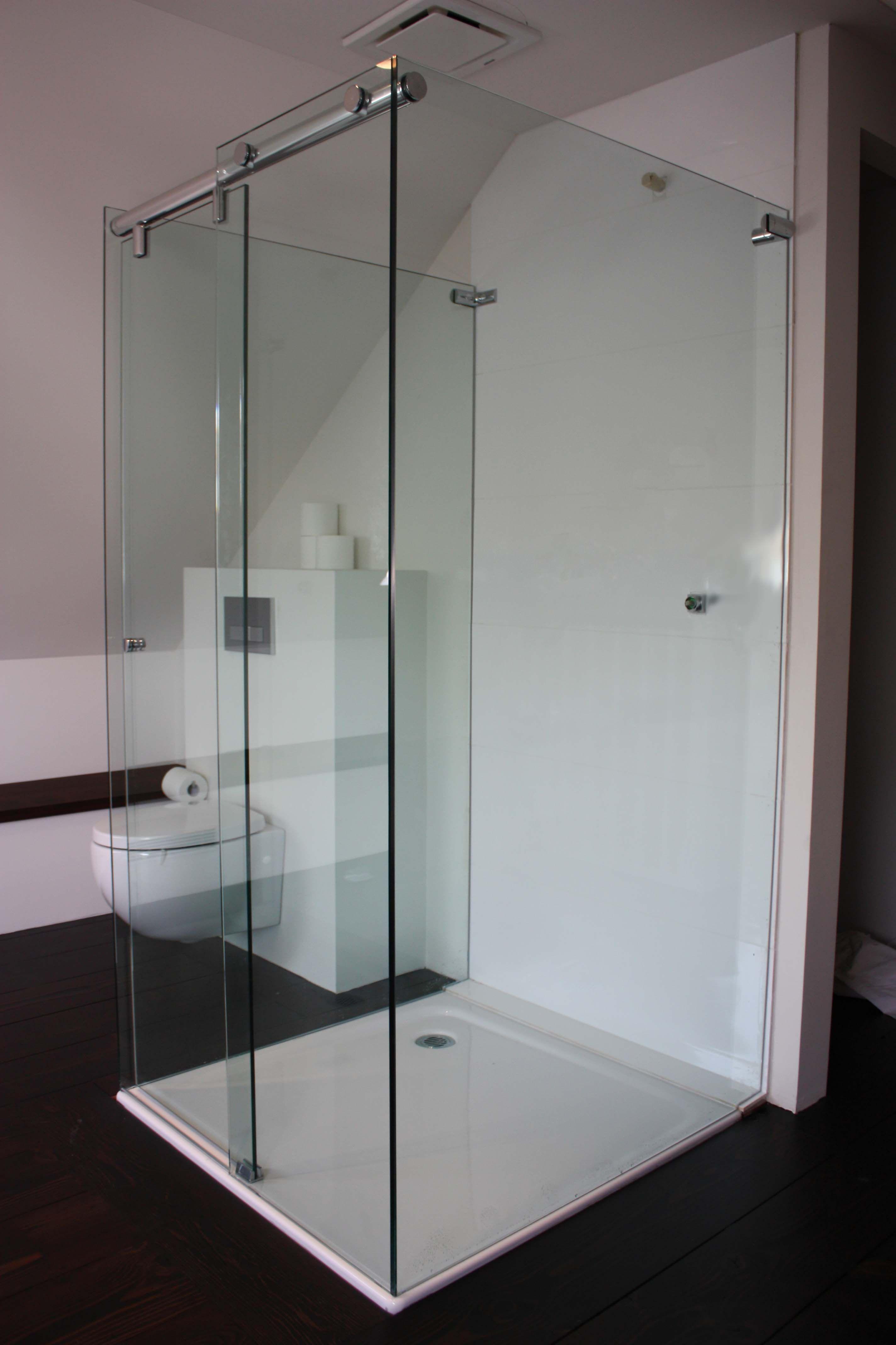 custom made frameless sliding shower screen by White Bathroom Co ...
