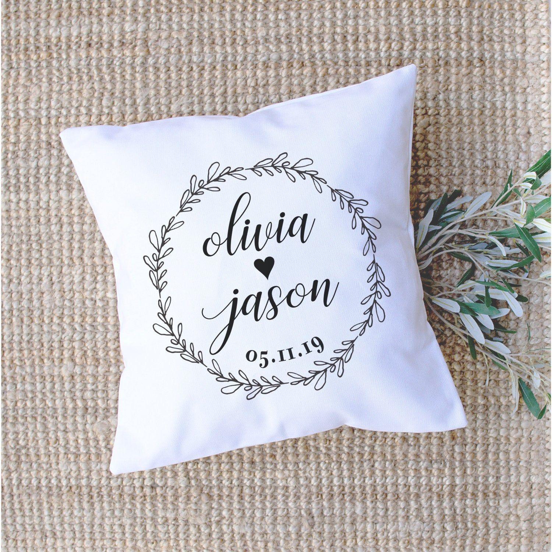 Personalized Couple Names /& Est Date Decorative Pillow Basic Farmhouse Pillow Wedding Anniversary Gift Farmhouse Throw Pillow