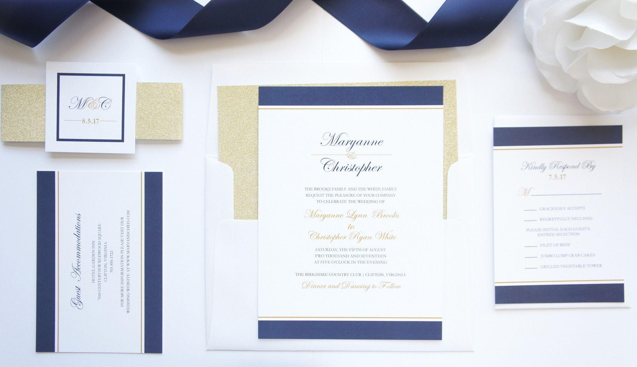 Navy and Gold Wedding Invitation - DEPOSIT | Stationary | Pinterest ...