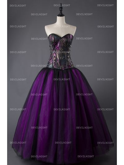 08e762a63db Purple and Black Steampunk Style Gothic Corset Long Prom Dress ...