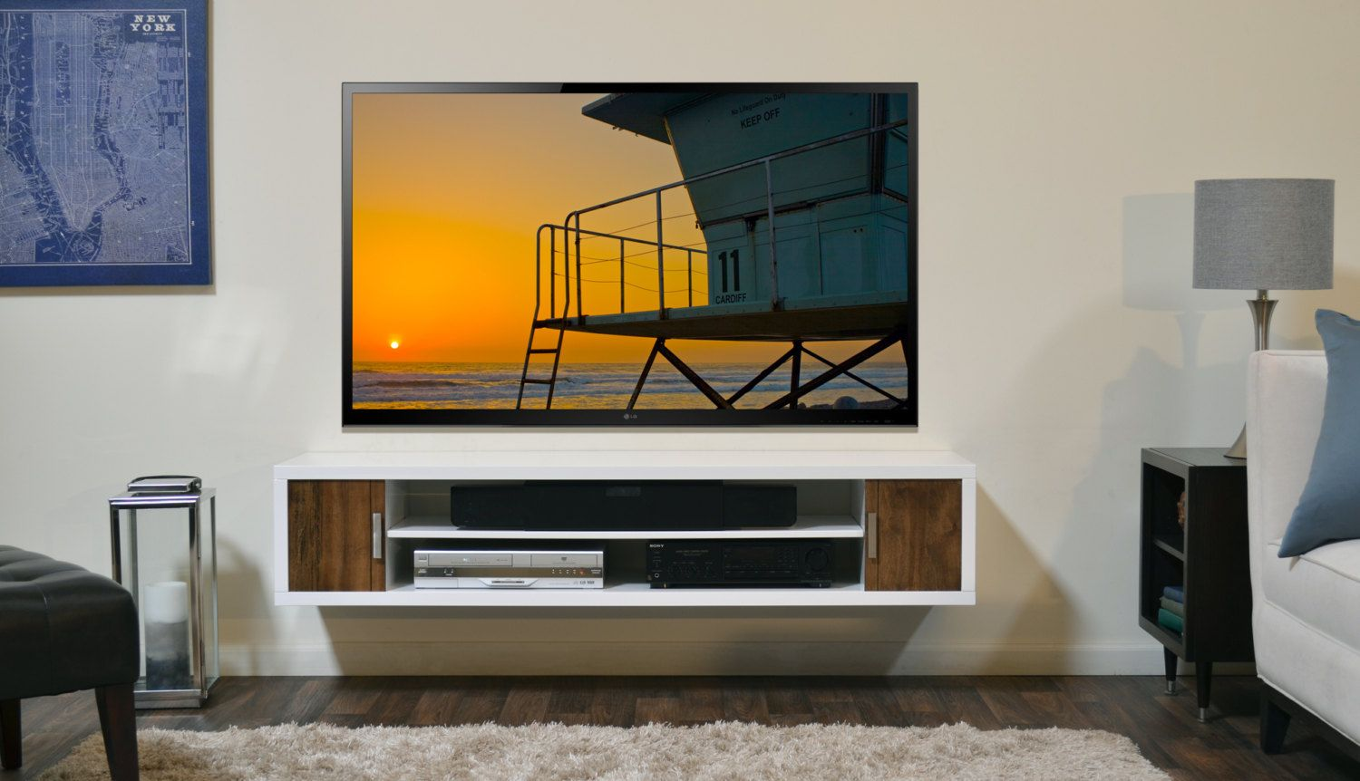 modern white wall mount tv media console cardiff by woodwavesinc 59900 - Media Wall Design