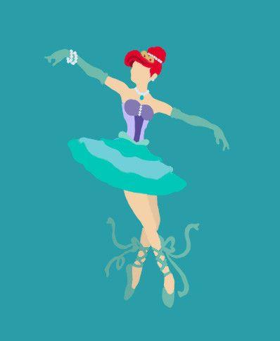 Illustrations of Disney Princesses as Ballerinas