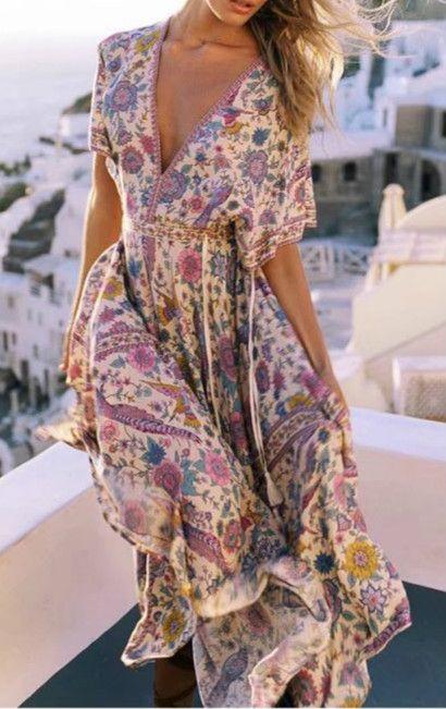 Floral And Floaty Summer Dress Boho Jurk Boho Mode Lange Zomerjurken
