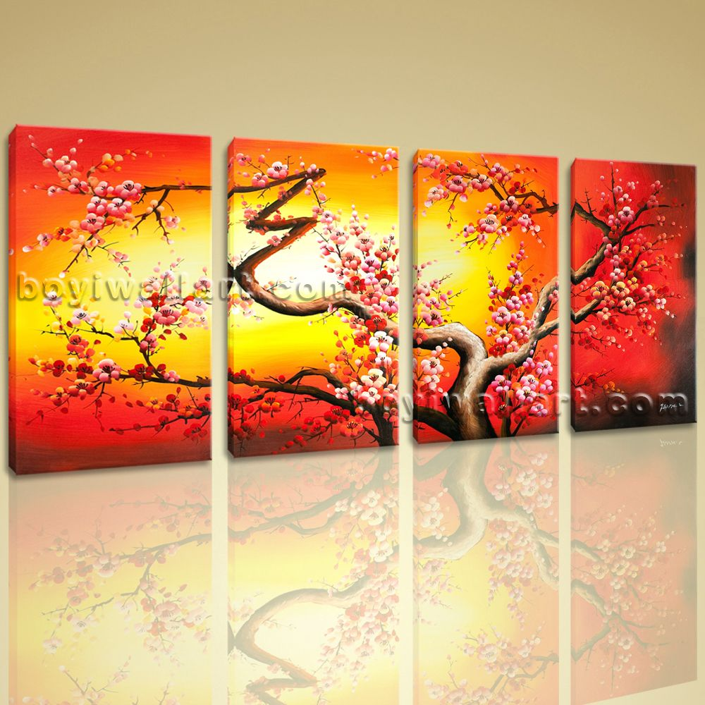 Large Giclee Print Abstract Plum Tree Blossom Painting Canvas Wall ...