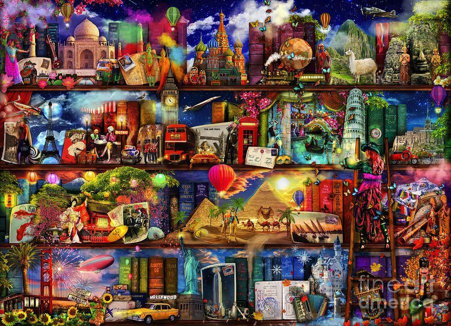 World Map Digital Art - World Travel Book Shelf by Aimee Stewart