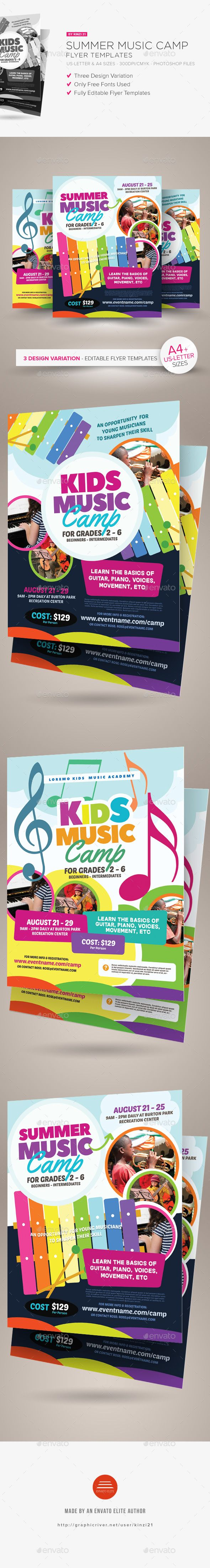 Summer Music Camp Flyer Templates  Flyer Template Template And