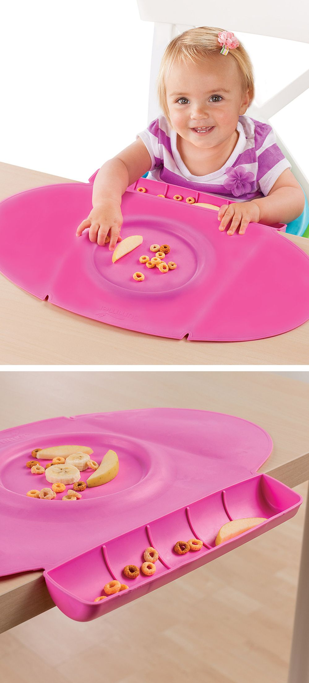 Baby Place Mat Has A Scoop To Catch Food Contains