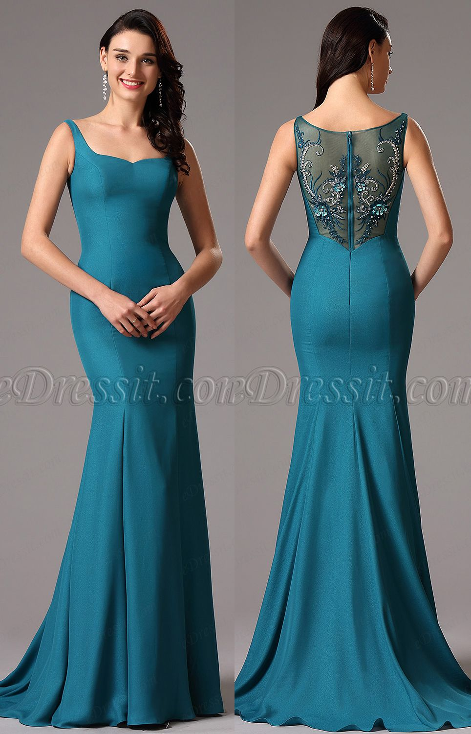 Sapphire mermaid evening dress with lace embroidery is beautiful ...