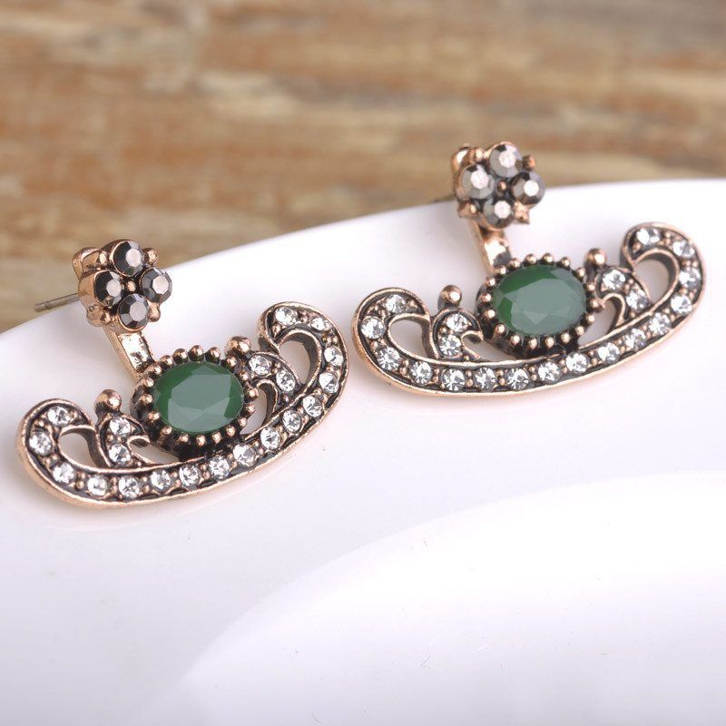 New Boat Shaped Earrings For Women Ruby Crystal Gold Plated Double Sided Stud Earring Boucle d'oreille Femme Turkish Ear Studs