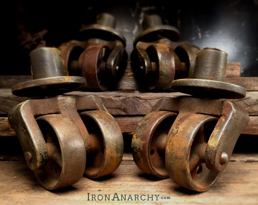 Antique double wheel piano casters on in
