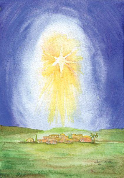 Christmas Cards Star Over Bethlehem Set Of 10 Watercolor Etsy Watercolor Christmas Cards Christmas Watercolor Christmas Paintings