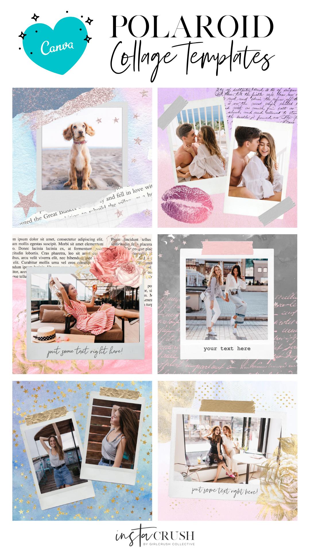 Polaroid Collage Templates Canva Collage Template Polaroid Collage Templates