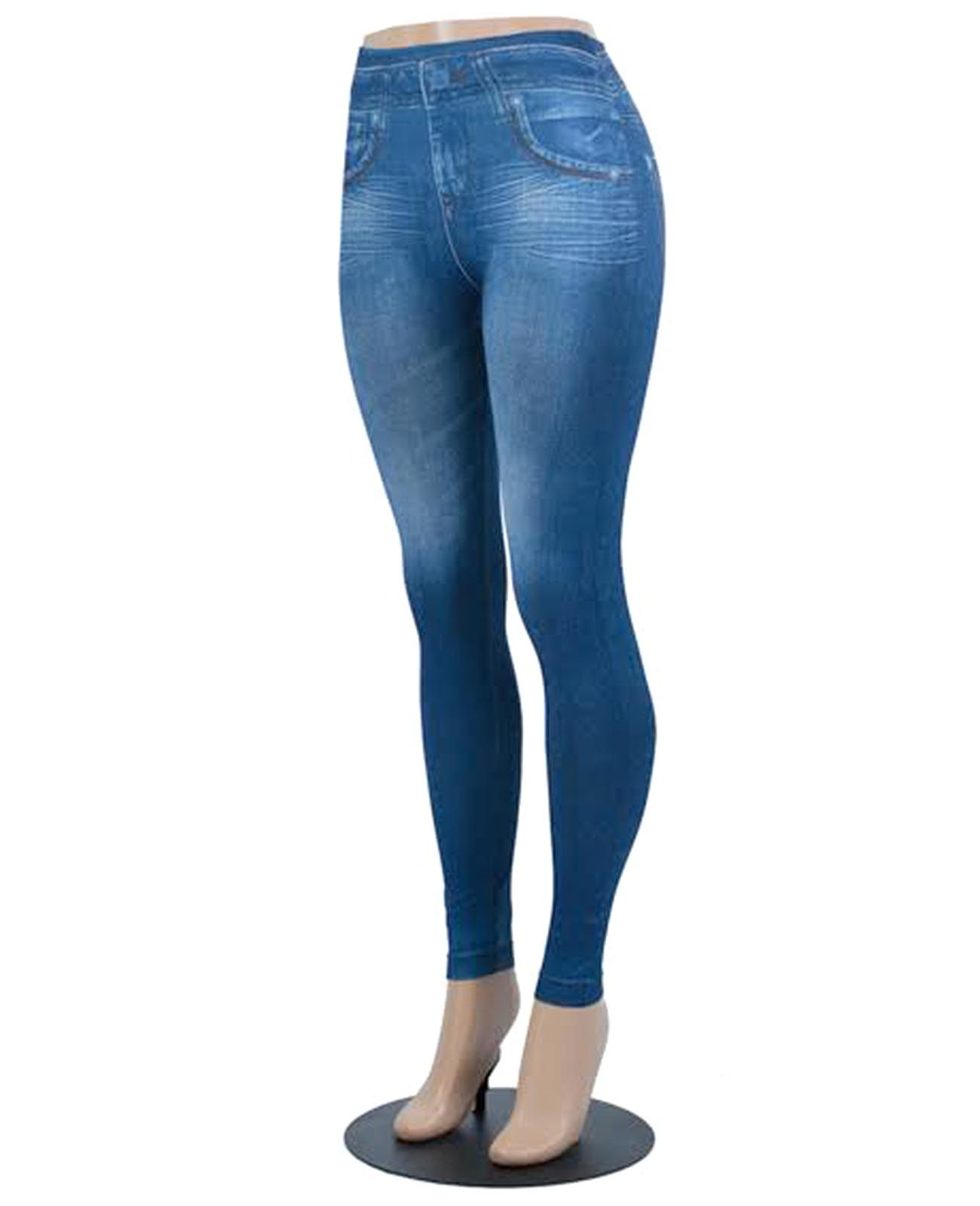 cfdee0a0592d5 Blue / 95% Polyester, 5% Spandex / Stretchy Pants That Are Printed To Look  Like Jeans / One Size / Jegging