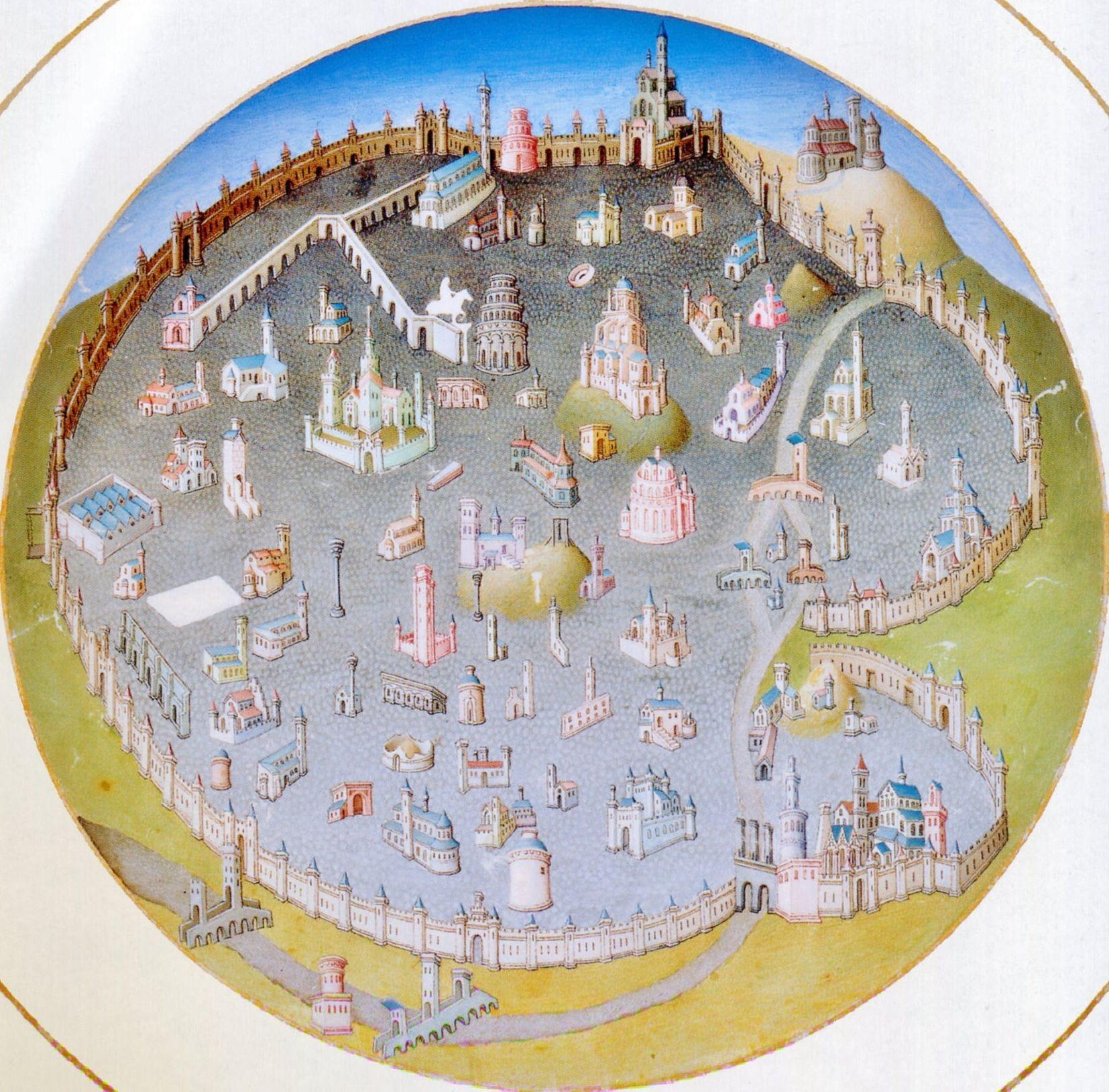 gebr. Van Limburg, Très riches heures du Duc de Berry (1411-1416) Musée Condée Chantilly.Een plattegrond van Rome. De hertog was niet gelukkig met het Westers Schisma en de aanwezigheid van de paus in Avignon. Hij steunde de paus in Rome en nam deze plattegrond van Rome op in zijn getijdenboek. Rechts bovenin de kaart staat de St. Jan van Lateranen buiten de muren van de stad. Dit geeft aan dat de kaart niet noord-zuid georiënteerd is. Deze kerk staat ten zuiden van de oude stad.