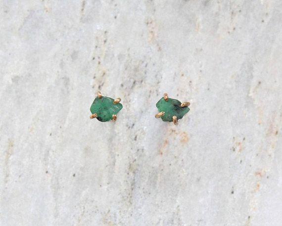 Raw Emerald 14k Gold Fill Mineral Specimen Prong Set Stud