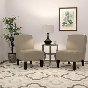 Wallis Fabric Slipper Oatmeal Chair 2 Pack Dining Chair