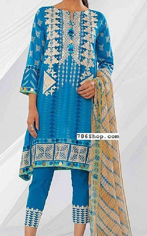 Blue Lawn Suit   Buy Khaadi Fashion Dress is part of lawn Design Pakistani - Pakistani Lawn Suits with prices online shopping in USA, UK    Pakistani Lawn clothing for sale with Free Shipping  Call +1 5123801085