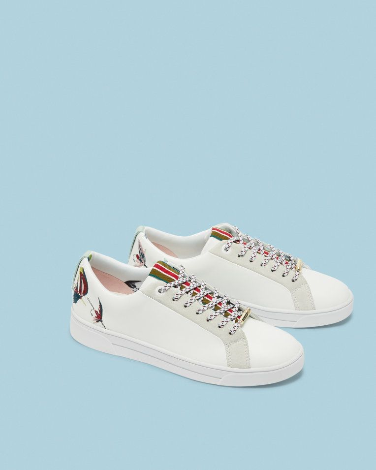 Fly fish embroidered sneakers White | Shoes | Ted Baker