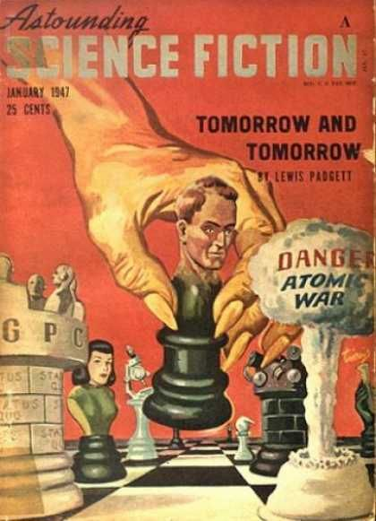"""Astounding Science Fiction (January 1947) featuring """"Tomorrow and Tomorrow"""" by Henry Kuttner and CL Moore (Lewis Padgett)."""