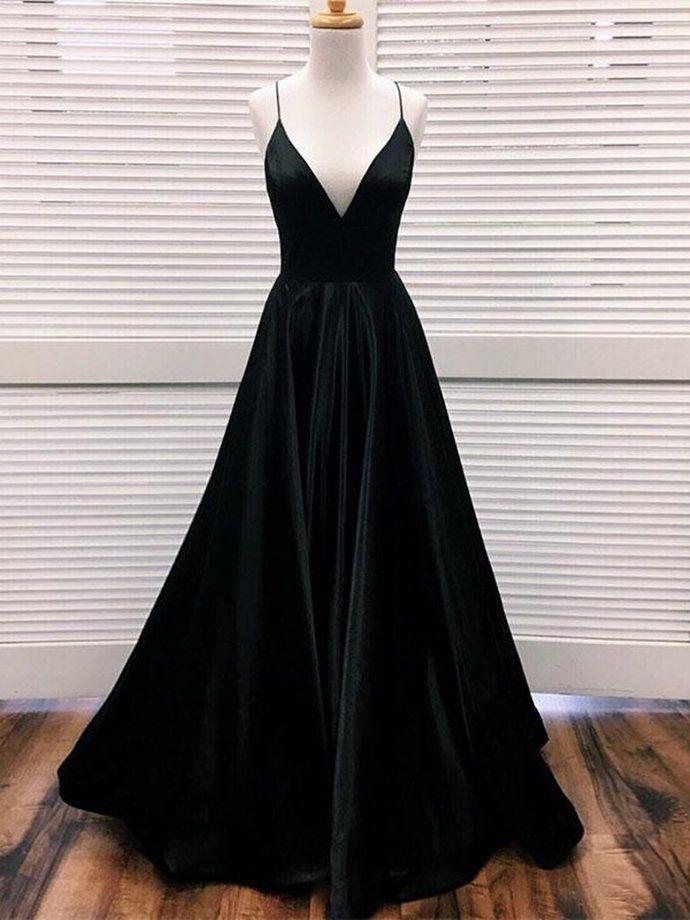 Simple A Line V-Ausschnitt Schwarz Satin Lange Ballkleider, Schwarze Abendkleider, Abendkleider   – Sukienka na studniówkę
