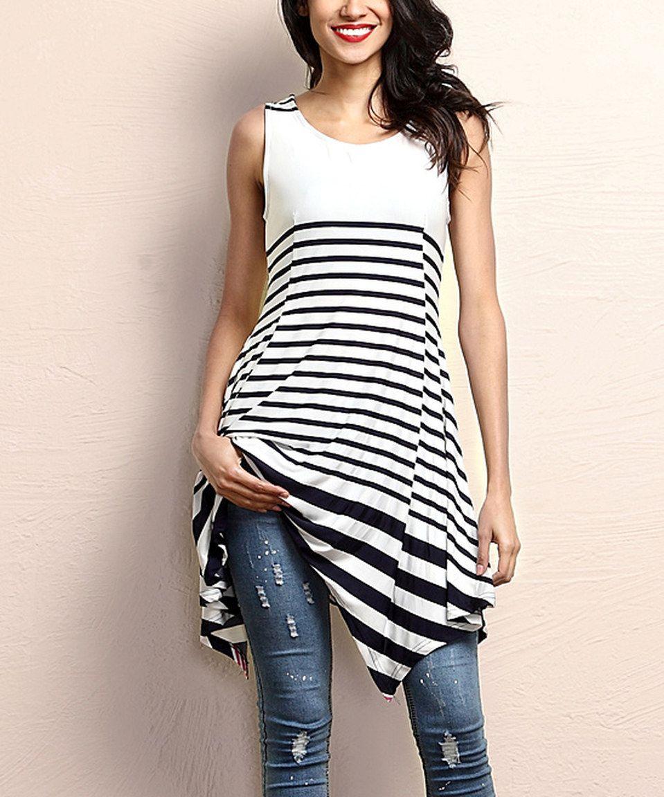 Look at this #zulilyfind! Navy Stripe Sleeveless Handkerchief Tunic by Reborn Collection #zulilyfinds