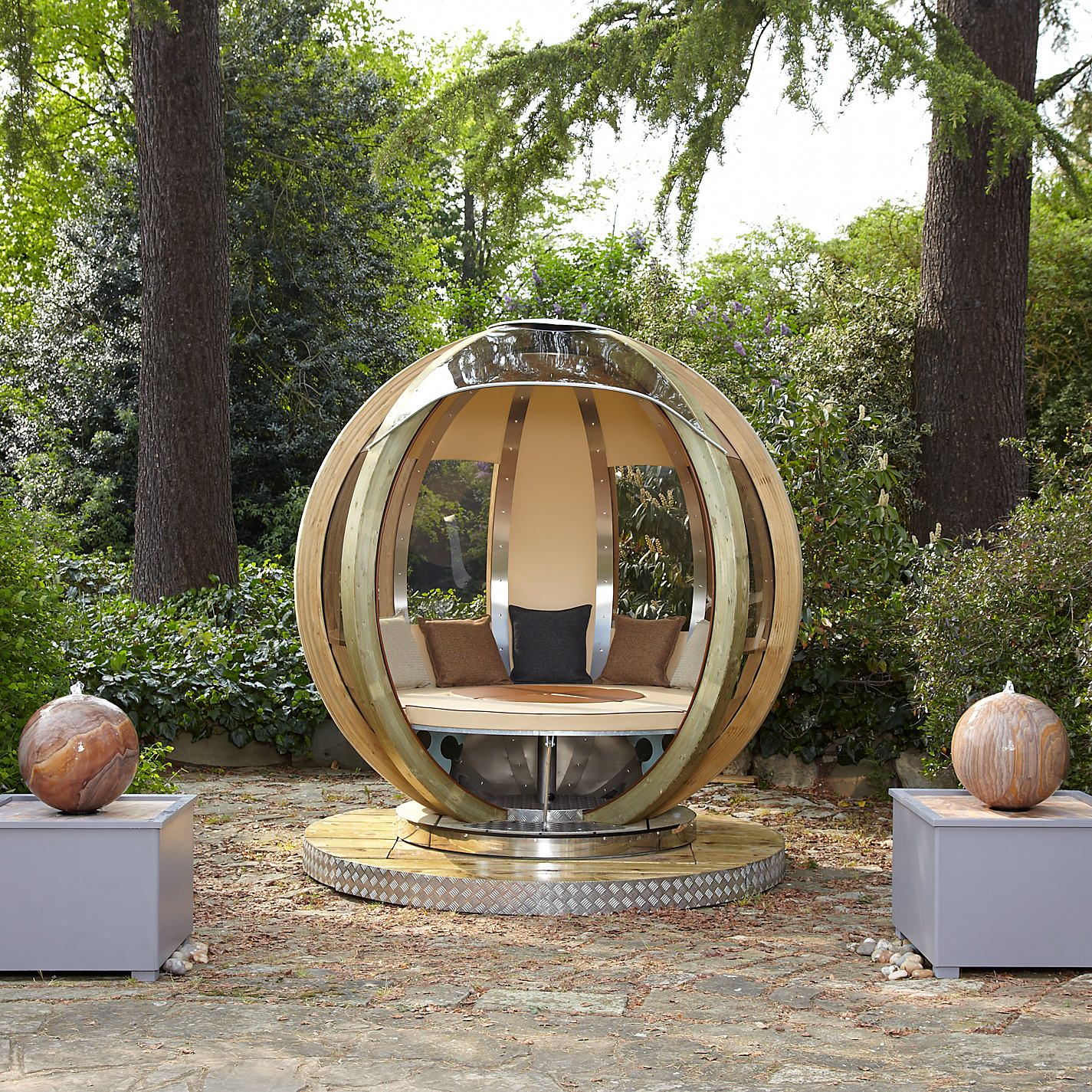 Garden Furniture Pod eat, study, or chill in the amazing rotatable glass garden pods