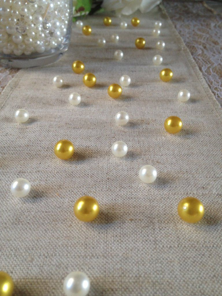 Vintage Table Pearl Ters Gold And Ivory Pearls For Golden Anniversary Retirement Wedding